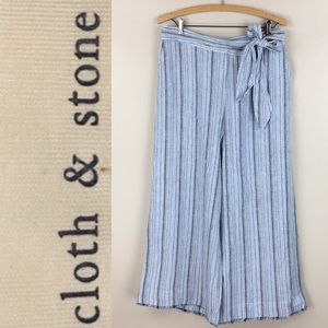 Cloth & Stone Wide Leg Striped Linen Blend Pants